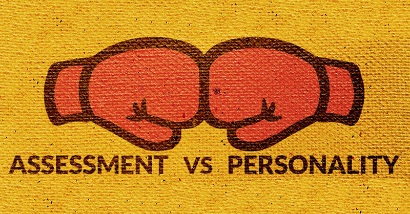 Graphic of the words 'Assessment vs Personality'