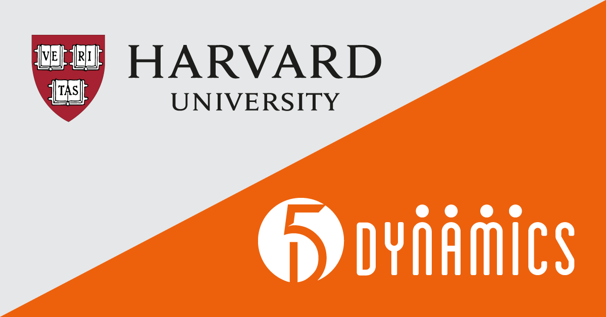 Graphic of Harvard's logo and 5 Dynamics' logo