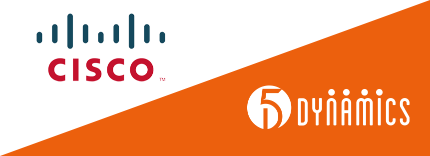 Graphic of Cisco's logo and 5 Dynamics' logo