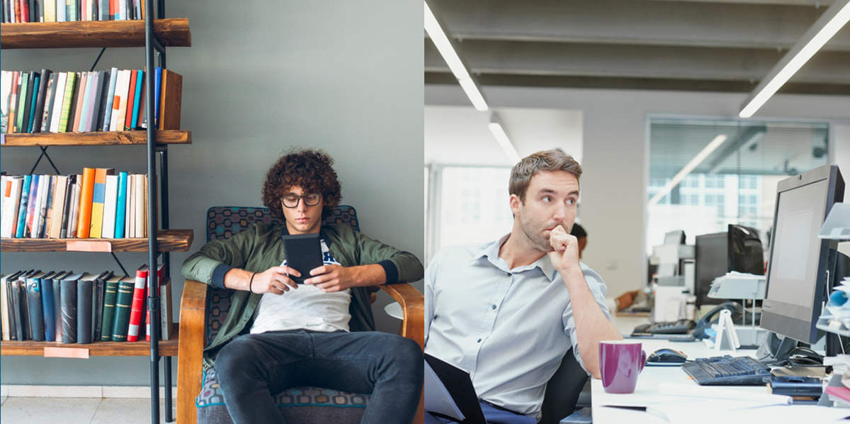 Two photos showing a person in a college setting, and another person in a corporate setting