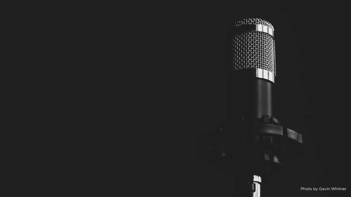 Black-and-white photo of a microphone